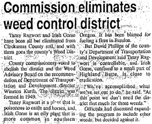 Weed control district dissolution headline, from the Oregon City Enterprise-Courier. (Oregon City, OR.), August 5, 1989