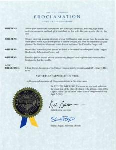 Oregon's Native Plant Appreciation Week Proclamation 2021