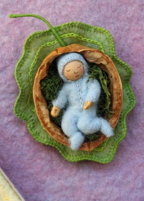 Cards - baby in walnut shell