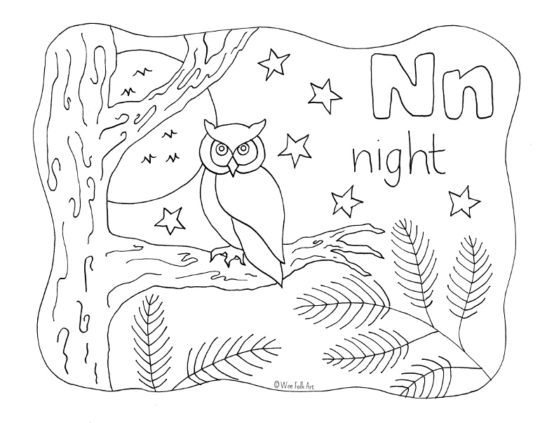 nature alphabet coloring page letter n  homeschool companion