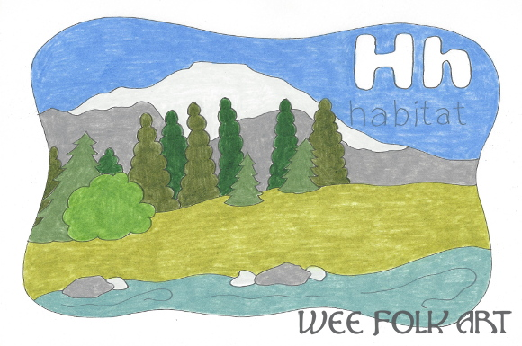 Nature Alphabet Coloring Page Letter H