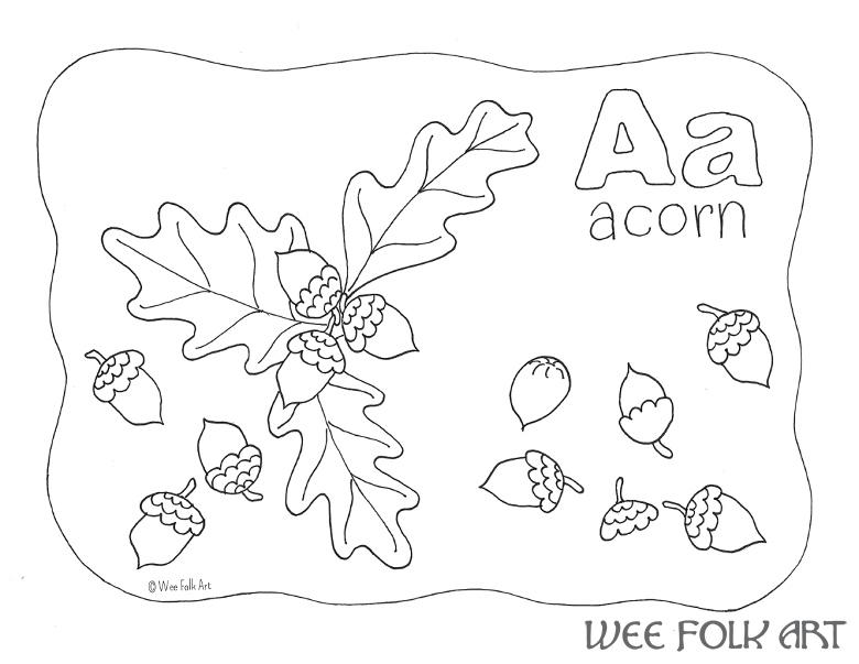 Nature Alphabet Coloring Page Letter A Homeschool Companion