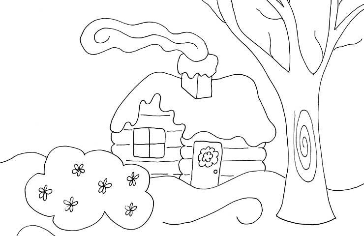Log Cabin Coloring Page » Wee Folk Art