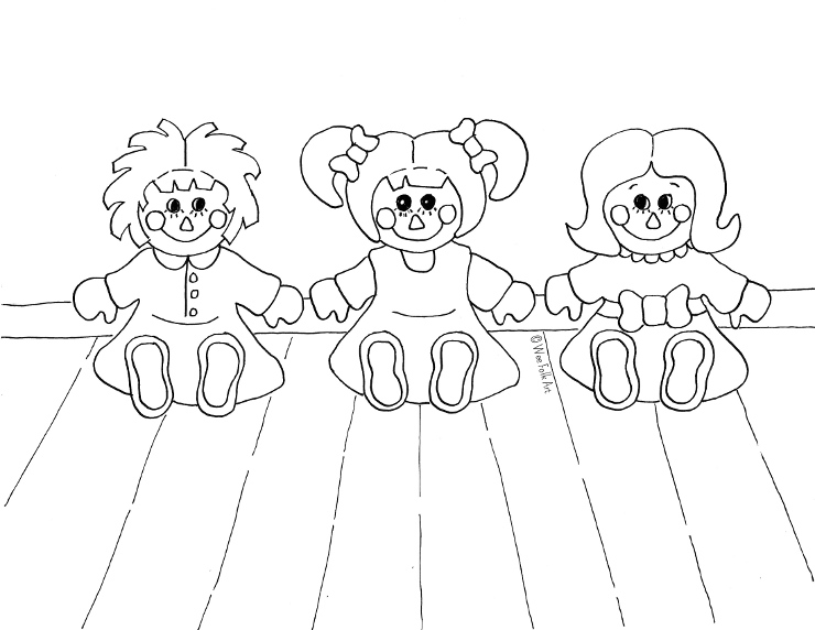 Rag Doll Friends Coloring Page » Wee Folk Art