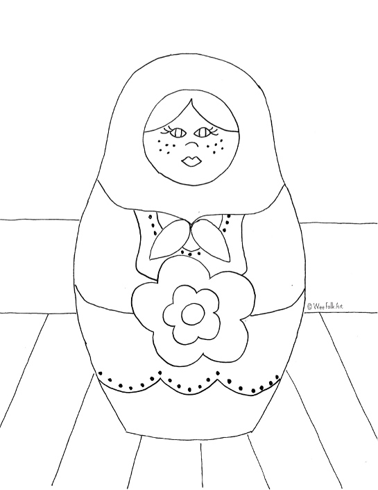 Russian Nesting Dolls Coloring Page » Wee Folk Art