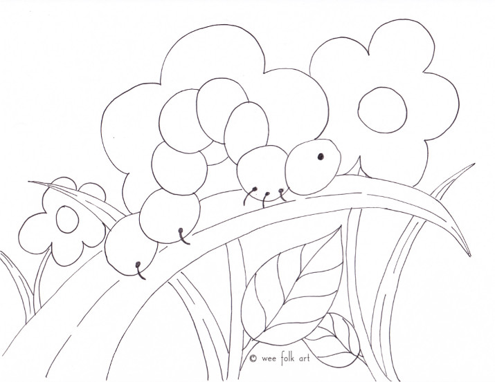 Inchworm Coloring Page » Wee Folk Art