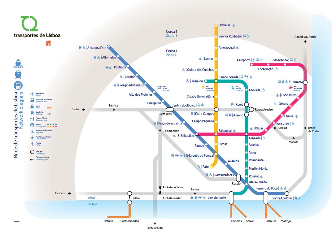 Métro de Lisbonne : plan, tarifs, lignes, stations, horaires etc