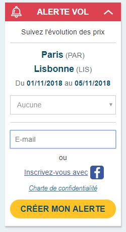 Alerte Vol sur Easy Voyage pour un Paris-Lisbonne