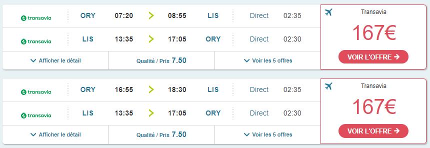 paris lisbonne avion moins cher