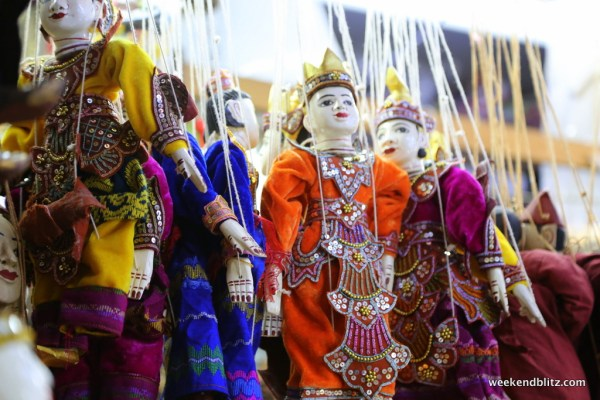 Burmese puppets line street markets and are intricately designed and decorated.