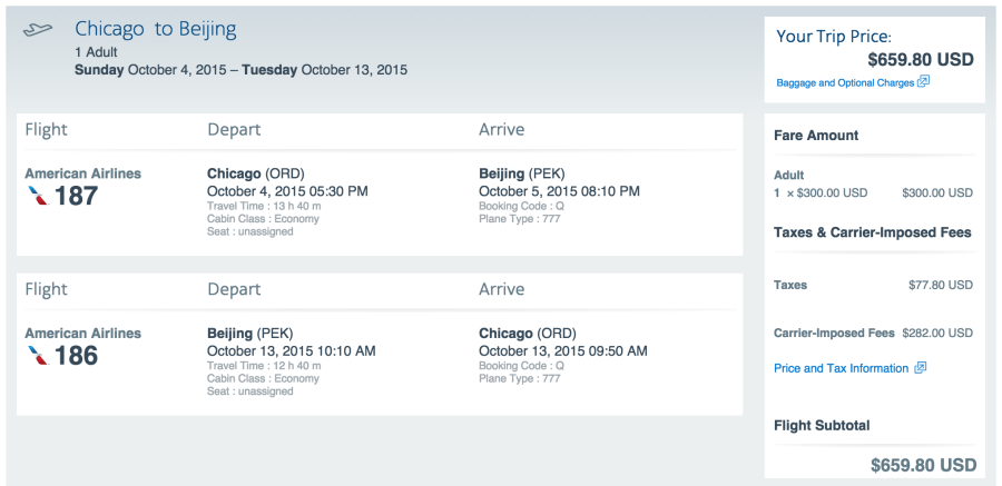 Chicago (ORD)-Beijing (PEK) for $660 on American.