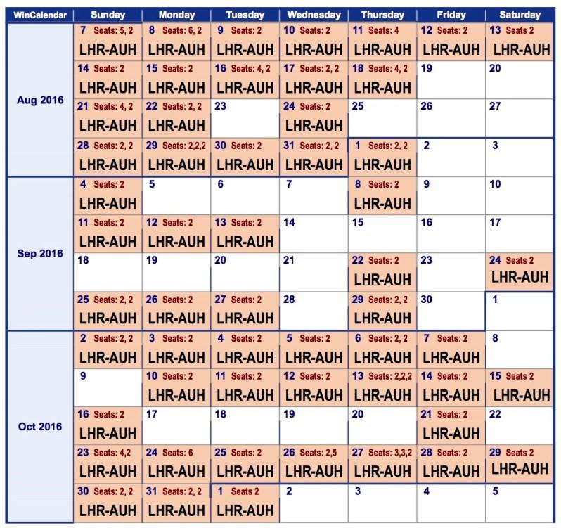 2016 Weekly Calendar lhr-auh 2