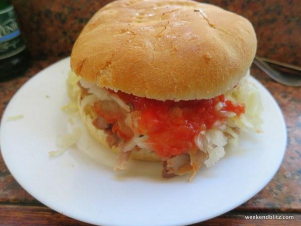 Here's our delish sandwich from La Fuente Alemada