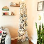 Flocked Pencil Tree With Wooden Ornaments Weekend Craft