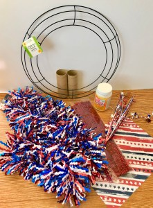 supplies to make a 4th of July wreath.