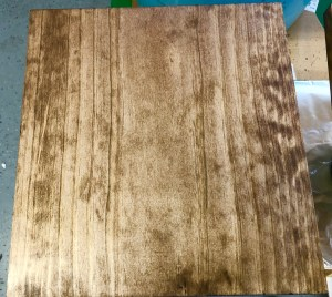 two coats of walnut stain