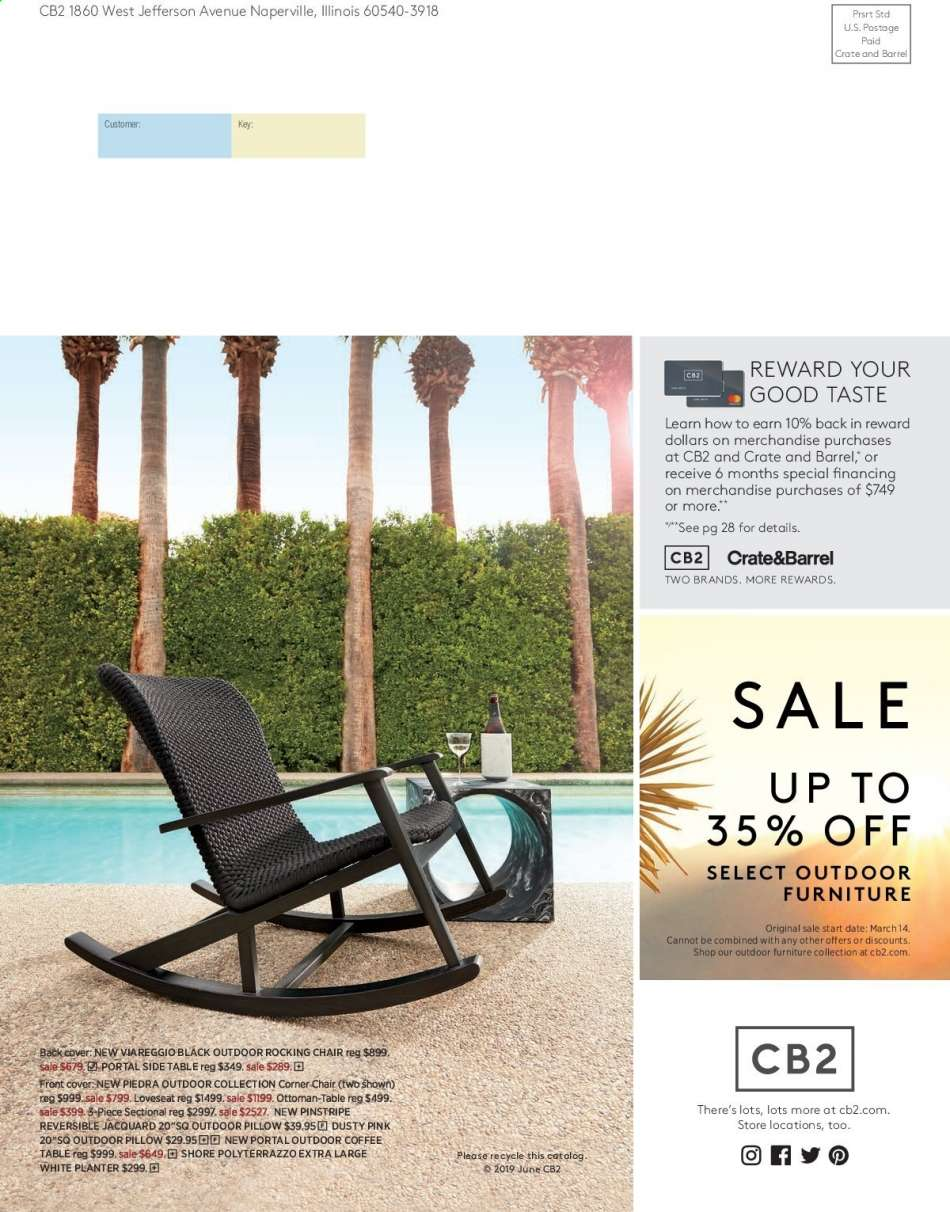 Crate And Barrel Rocking Chair Cb2 Flyer 06 01 2019 06 30 2019 Weekly Ads Us