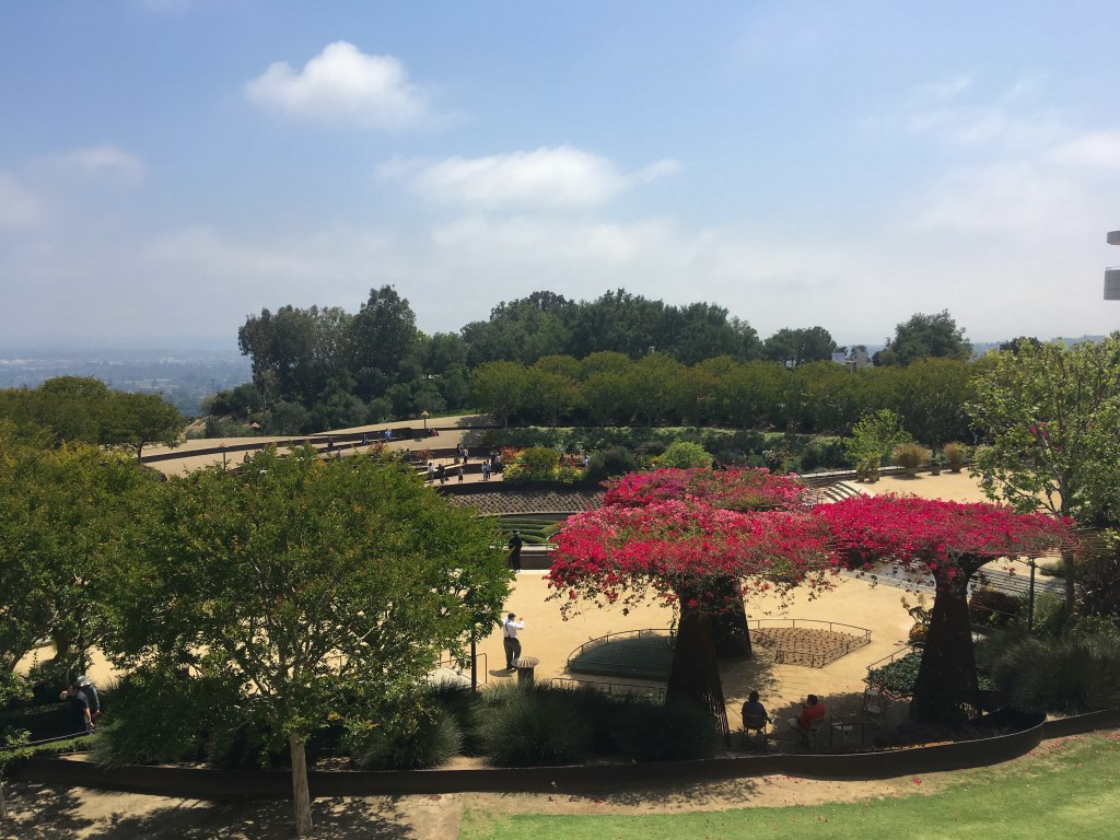 Looking over the main garden at the Getty Center Museum