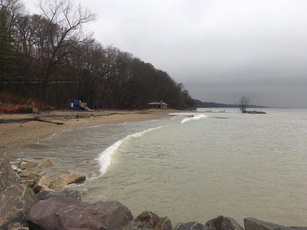 Lake Michigan waterfront with a very high water level