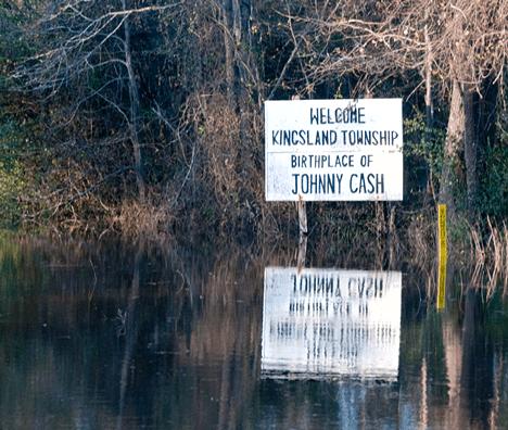 Johnny Cash birthplace sign at Kingsland AR