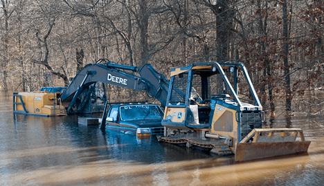 Construction equipment under water