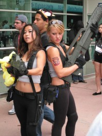 """Two Starship Troopers cosplayers posterize """"Welcome to the Roughnecks!"""" Credits: Photo by Mark Turner"""