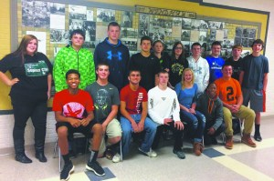 Pictured above from left to right: (front row)  Jason Turner, Tyler Simcox, Phillip Maiorca, Blake Eye, Mackenzie McLean, Ron Nix, Calvin Harvey (back row) Samantha Pritt, Franklin Egantoff, Brandon Wallace, Hunter Shackelford, Jacob Bryant, Riley Mullen, Damien Keisling, Nick Richter, Christian Richter, Bailey Rutherford.