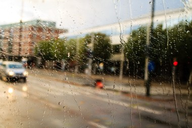 Rain started when I entered the bus.