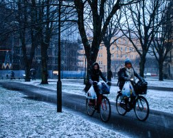 Bikers in snow on friday afternoon,