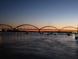 Centennial Bridge in the distance, near sundown, on September 6, 2014, Saturday.