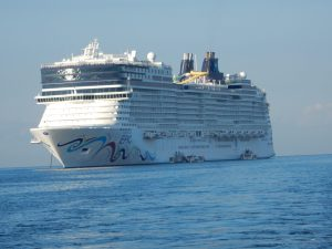 "The Norwegian ""Epic"" (holds 6,000 travelers)."