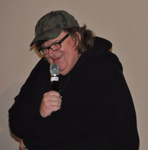 Michael Moore, recipient of the Founders' Award, at the 51st Annual Chicago International Film Festival.