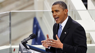 U.S. President Barack Obama speaks during swearing-in ceremonies on the West front of the U.S Capitol in Washington