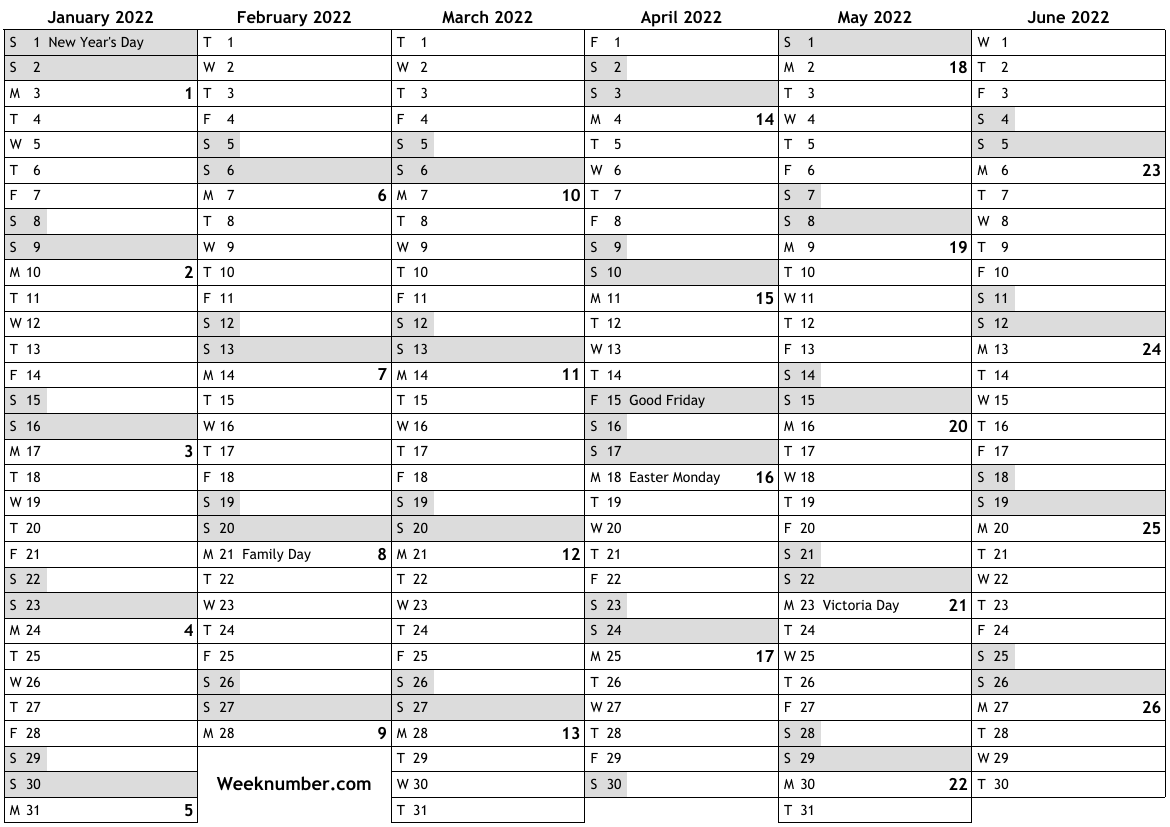 2022 calendar with week numbers and holidays for Canada ...