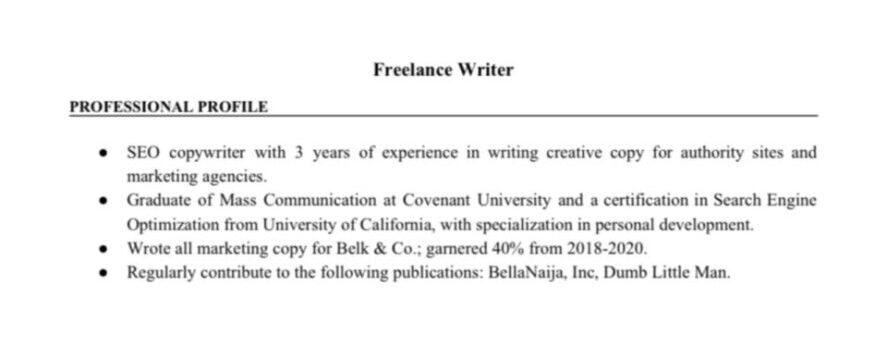Freelance CV
