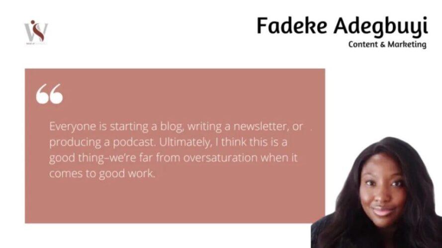 Writers Who Inspire Us: Fadeke Adegbuyi 6 Writers Who Inspire Us: Fadeke Adegbuyi Fadeke Adegbuyi