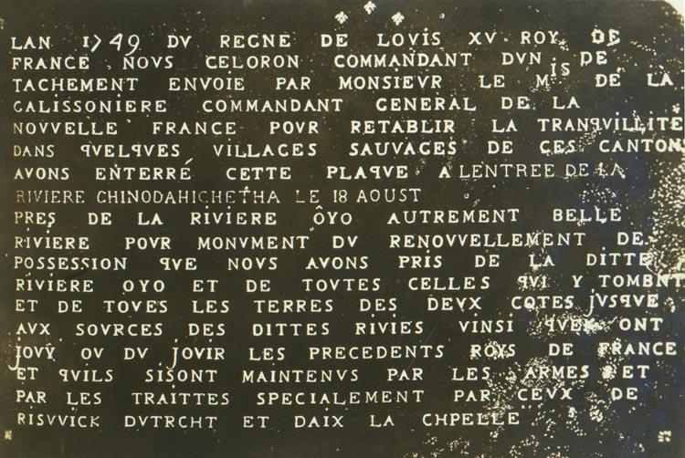 Lead plate left by French explorer Celeron de Blainville. Boyd Stutler Collection, Box 12. wvculture.org