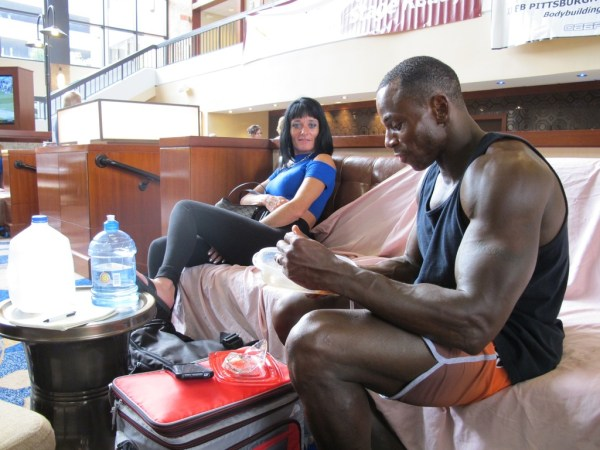 Mr. and Mrs. Youngblood in the lobby of the Sheraton Station Square after the prejudging.