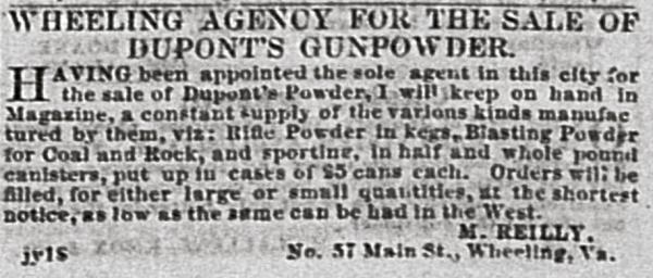 A Wheeling merchant's DuPont's Gunpowder newspaper ad.
