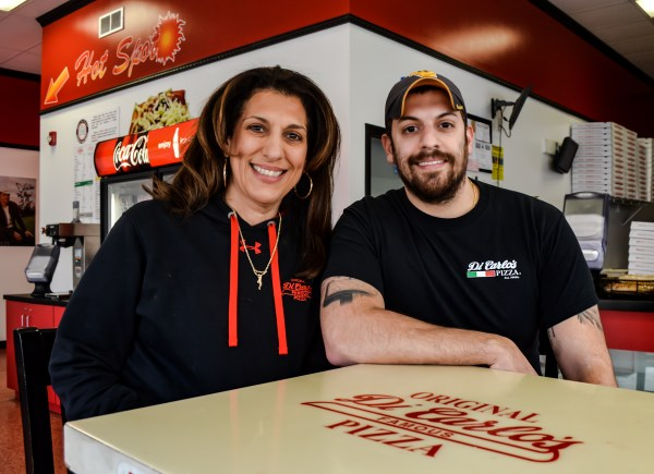 Toni DiCarlo is the daughter of Galdo, the man who brought Original DiCarlo's Pizza to Wheeling in 1949. Today, she works each day with her son, Christopher.