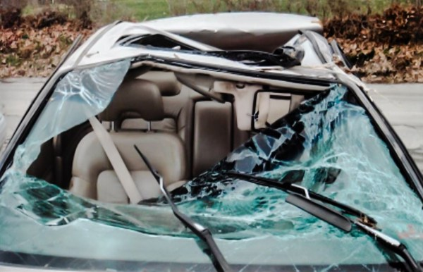 The vehicle in which Heather was traveling at the time of the crash was heavily damaged after flipping over and colliding with a bus shelter before slamming into a hillside.