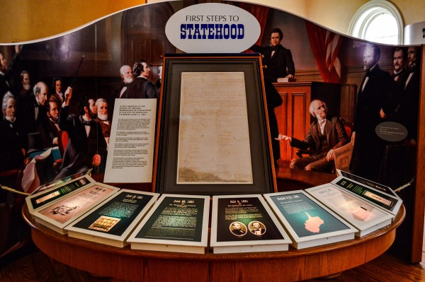 Independence Hall features this display of the Mountain State's Declaration of Independence which is displayed on the building's first floor.