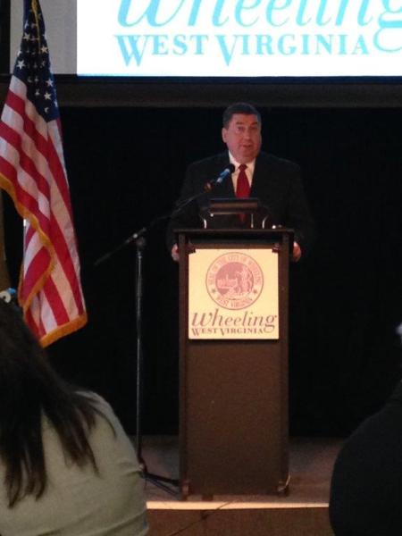 Wheeling Vice Mayor Gene Fahey addresses an audience attending one of several press conferences since he was first elected in 2008.