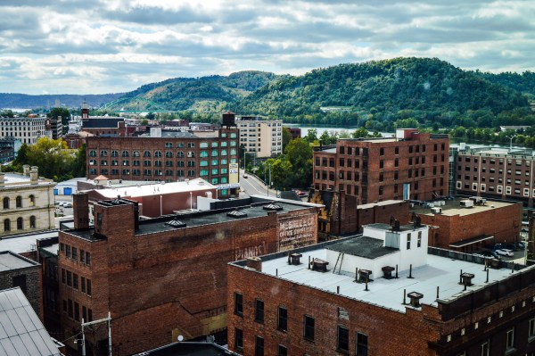 Downtown Wheeling and Centre are immediately link by the Big Wheeling Creek Brigdge.
