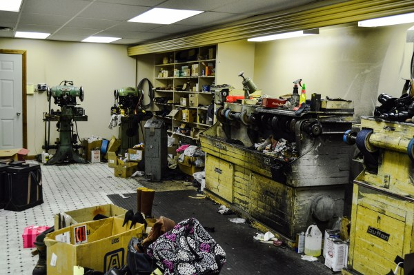 His workshop include equipment his father used when located in the alley between Kaufman's and Stone & Thomas.