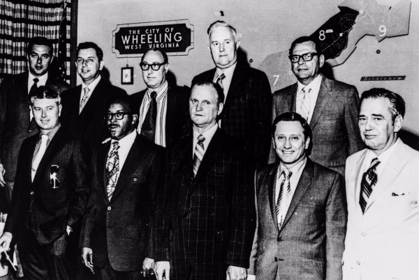 Clyde Thomas (second from left in the first row) and Jack Fahey (second from left in the back row) were two Wheeling Council members in the early 1970s when the Friendly City consisted of nine wards. In those days organized crime was controlled by Hankish and the members of his organization.