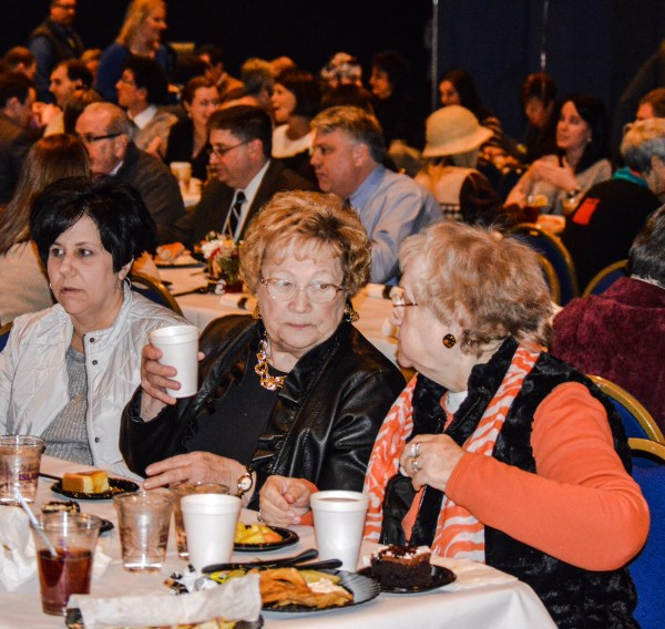 """Wheeling Councilwoman Gloria Delbrugge speaks with constituents during the """"State of the City"""" Address earlier this year."""