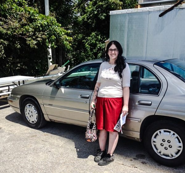 Rightfully so, Blon is very proud to now own her own car.