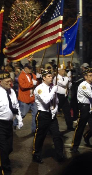 The Color Guard from Wheeling American Legion Post 1 traditionally leads off the Perkins Restaurant & Bakery Fantasy in Lights Parade.