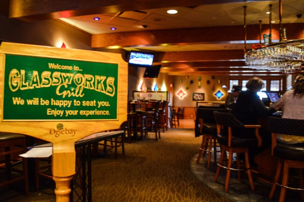 The Glassworks Grill at Wilson Lodge does not open until 1 p.m. on Sundays.